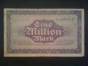 Банкнота 1923 г,  Один миллион марок банка Дрездена